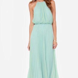Lulu's Bariano Sage Green Long bridesmaid dress